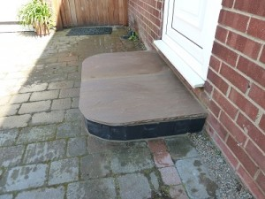 New doorstep made with kerb stones and Indian stone