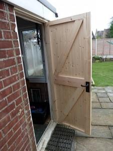 New garage side door hung