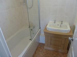 New bathroom - Bath, shower, screen and vanity unit and basin